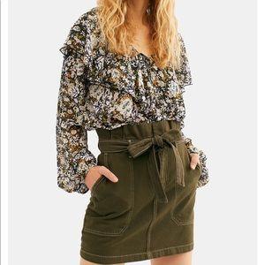 FP Splendor in the Grass Tie-Waist Denim Skirt